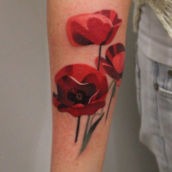 Sasha Unisex tattoo flowers poppies